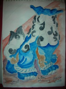 lion chinois aquarelle