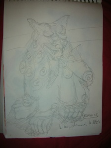 lion chinois crayon