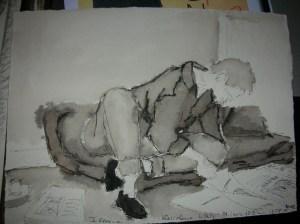 Marie Laure lit par terre